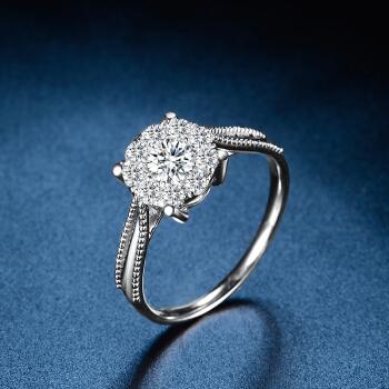 1カラットのダイヤモンドの指輪の白18 K金ドリルの女性のグループは大きく特注されたプラチナのPT 950ダイヤの結婚指輪のバラゴールドの結婚指輪をはめ込んで、戒2カラットに対して効果的なDE/SI(メインダイヤモンドの20分)