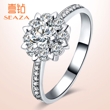 喜ドリル白18 K金顕ドリルの群に1カラットの効果のダイヤの指輪をはめ込みます。