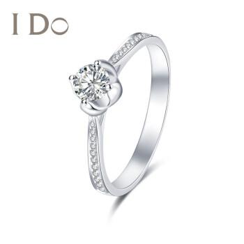 I Do Destinyシリーズ18 K金ダイヤモンドの指輪古典的な4つの爪は、透かし彫りのレトロな曲線の透かし彫りのグループをはめ込んで、女性指輪の結婚指輪idoの指輪18 K金(現物)/SI/I-J/30分/12号をはめ込みます。